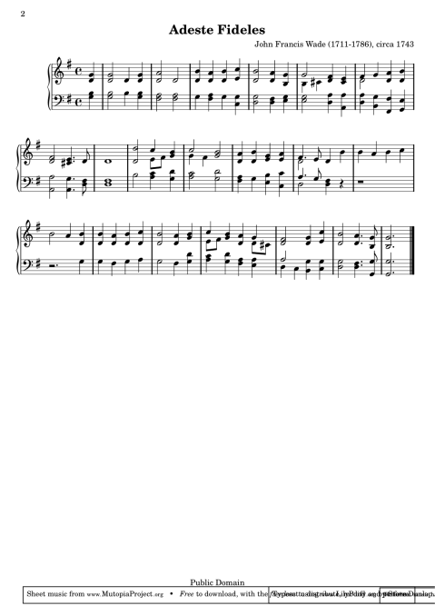 Sheet music generated from online, public domain LilyPond source