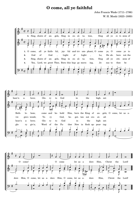 Sheet music after I added (obscured) descant, corrected melody, changed the harmony and layout, and added lyrics and phrasing.